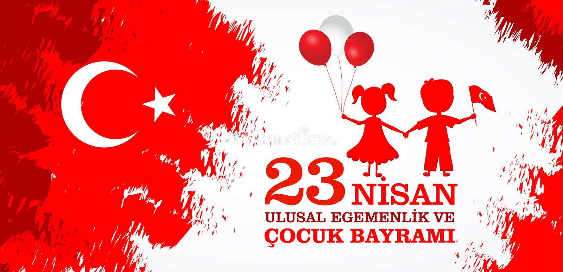 baryrami nisan du cocuk 23 Traduction : Jour turc du ` s d'enfants du 23 avril illustration stock