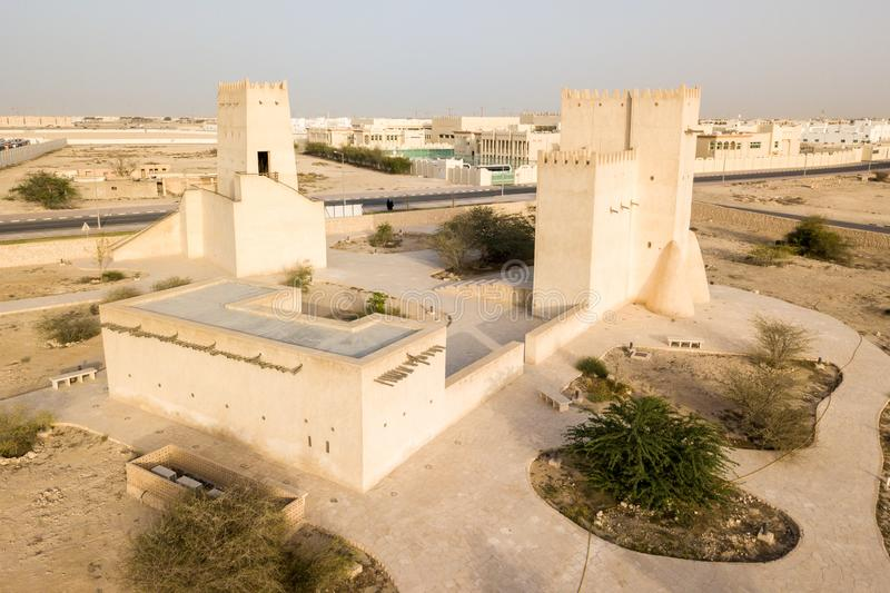 Barzan watchtowers fortification, Umm Salal Mohammed Fort Towers, Old Qatar. Middle East. Persian Gulf. royalty free stock image