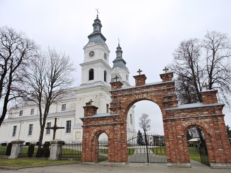 Basílica branca e porta vermelha, Lituânia fotografia de stock