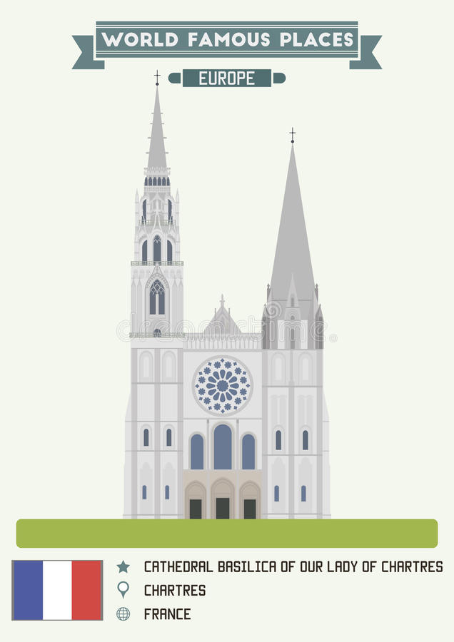 Basílica da catedral de nossa senhora de Chartres ilustração royalty free