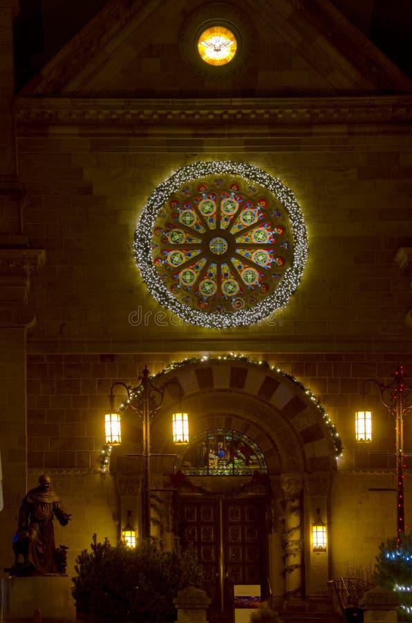 Basílica da catedral de St Francis de Assisi na noite fotografia de stock