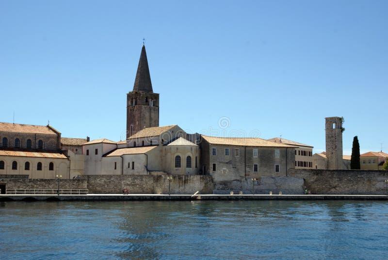 Basílica de Euphrasian em Porec no verão, Croácia imagens de stock royalty free