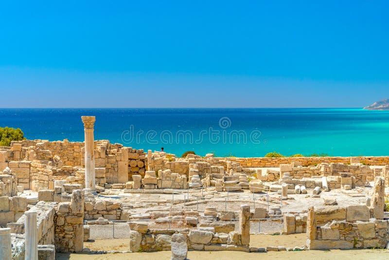 Basílica de Kourio de la casa de Aquiles en el santuario de Apolo en el sitio arqueológico del patrimonio mundial de Kourion cerc fotografía de archivo
