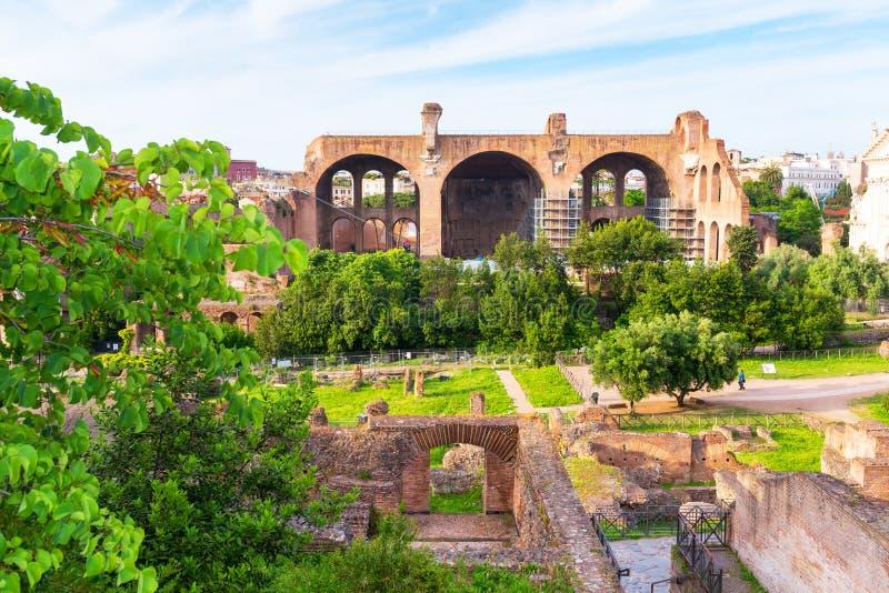Basílica de Maxentius y de Constantina en el foro romano, Roma fotografía de archivo