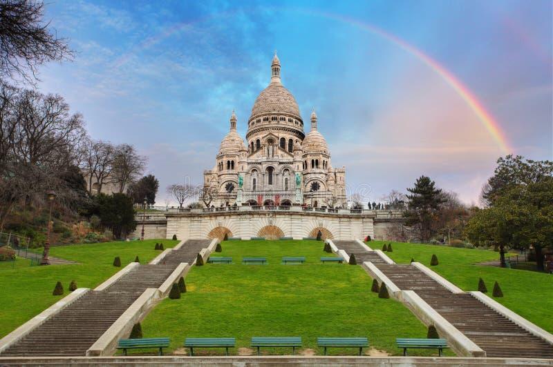 Basílica de Sacre Coeur de Montmartre en París, Francia foto de archivo