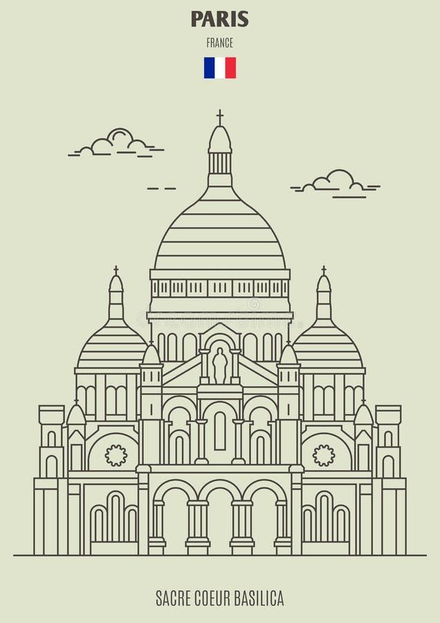 Basílica de Sacre Coeur em Paris, France Ícone do marco ilustração stock