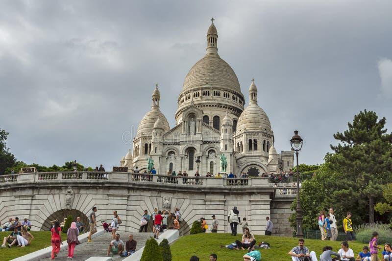 Basílica de Sacre Coeur en París imagen de archivo