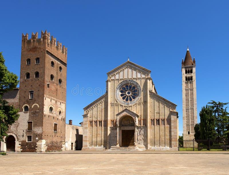 Basílica de San Zeno Verona - Itália fotos de stock royalty free