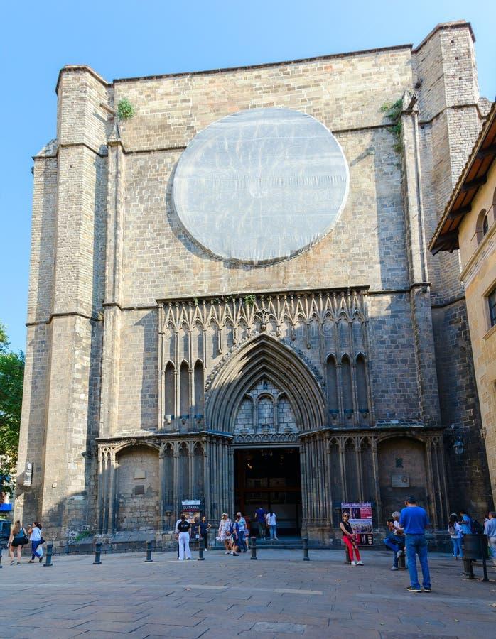 Basílica de Santa Maria del Pi en el cuarto gótico famoso, Barcelona, España fotos de archivo libres de regalías
