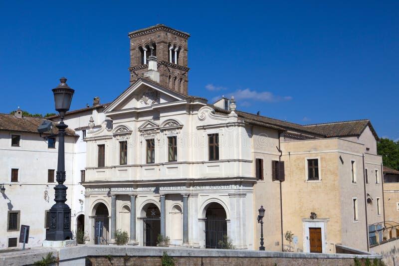 Basílica de St Bartholomew na ilha, Roma, Itália Foi fundado em 998 por Otto III, Roman Emperor santamente e contém relíquias foto de stock royalty free