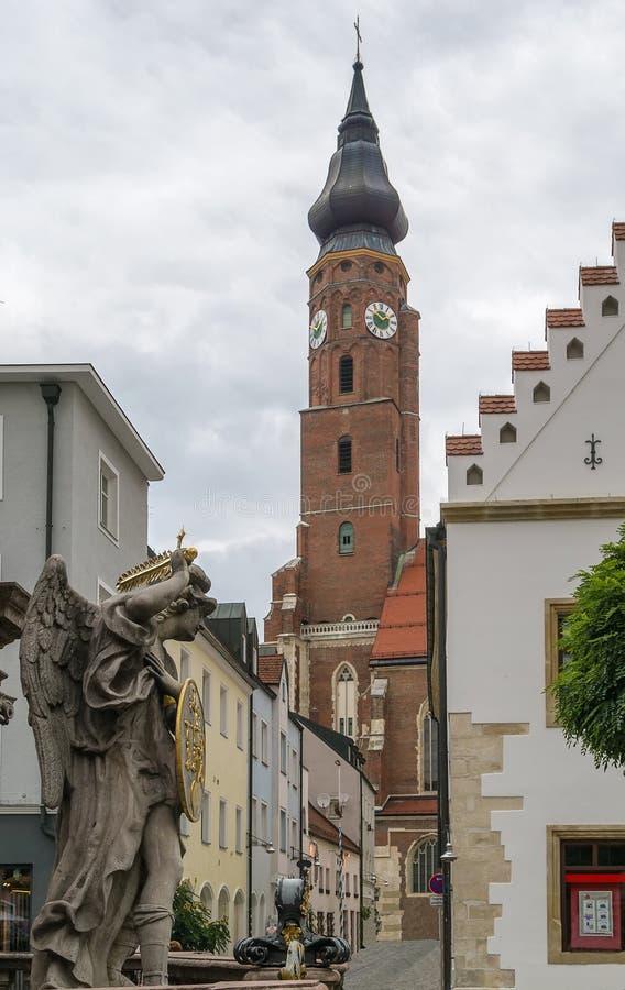 Basílica de St Jacob, Straubing, Alemanha fotos de stock