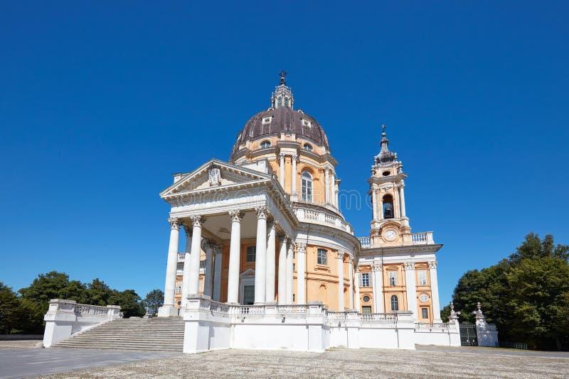 Basílica de Superga em Turin, local do patrimônio mundial do Unesco em um dia ensolarado em Itália fotos de stock