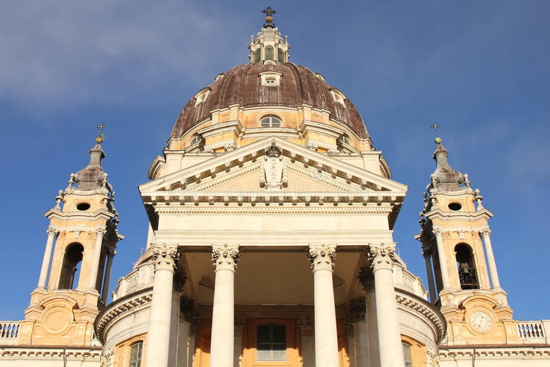 Basílica de Superga no monte de Turin, Itália fotografia de stock royalty free