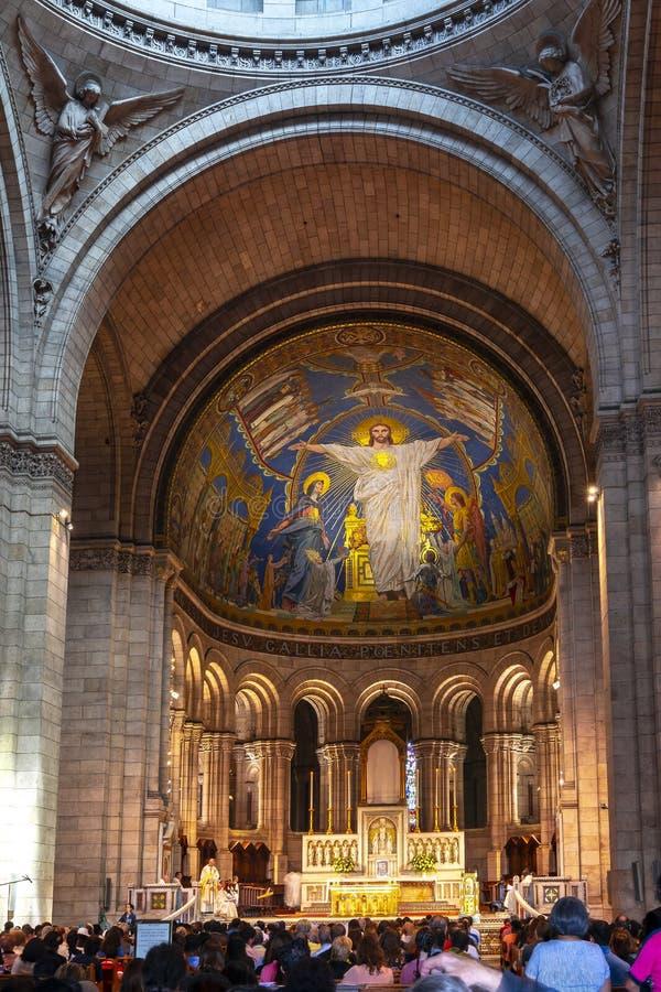 Basílica del interior sagrado del corazón de Sacre Coeur, París, Francia imagen de archivo