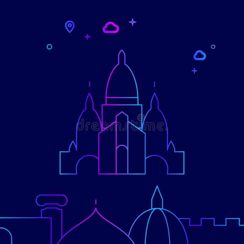 Basílica do coração sagrado da linha ícone do vetor de Paris, ilustração em um escuro - fundo azul Beira inferior relacionada ilustração royalty free