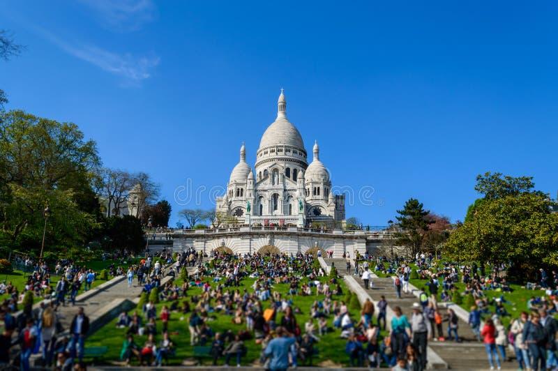 Basílica do coração sagrado de Paris foto de stock