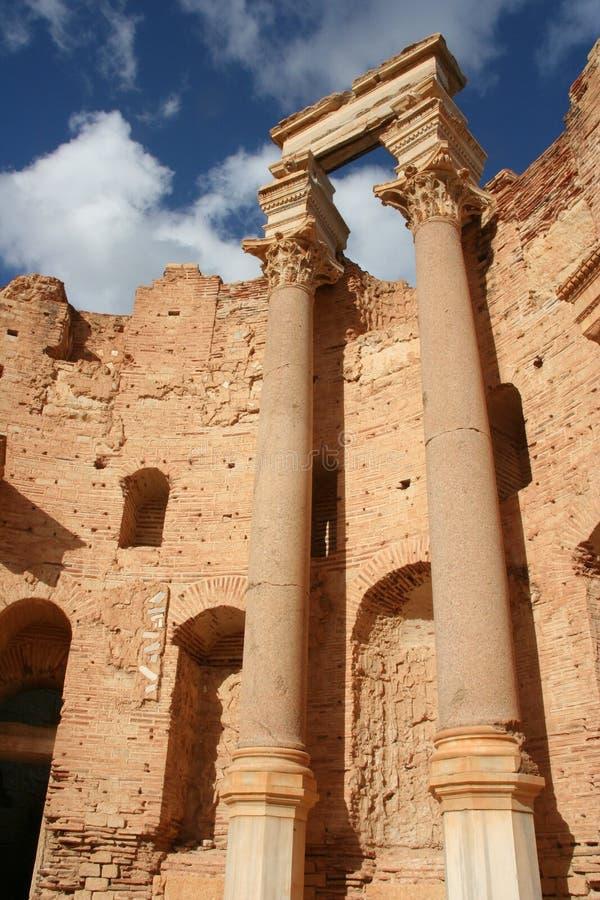 Basílica em magnum Líbia de Leptis foto de stock