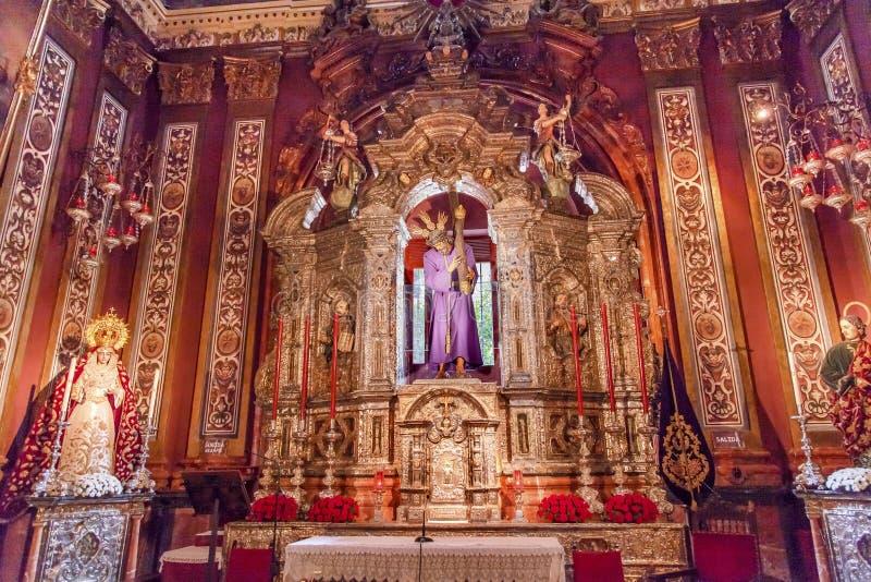Basílica Jesus Mary Statues Church El Salvador Seville España imagen de archivo