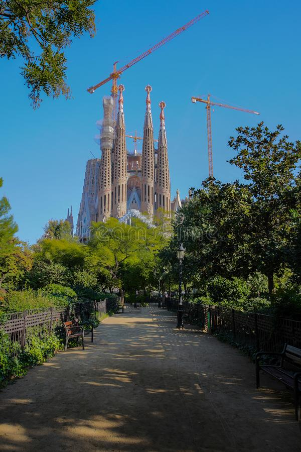 Basílica por Gaudi do familia de Sagrada Barcelona, Spain imagem de stock