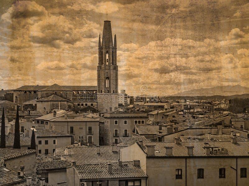 Basílica San Feliu de Girona, Espanha foto de stock royalty free