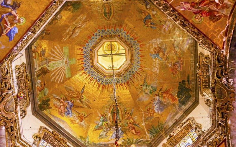 Basílica velha Guadalupe Mexico City Mexico dos mosaicos da abóbada imagem de stock