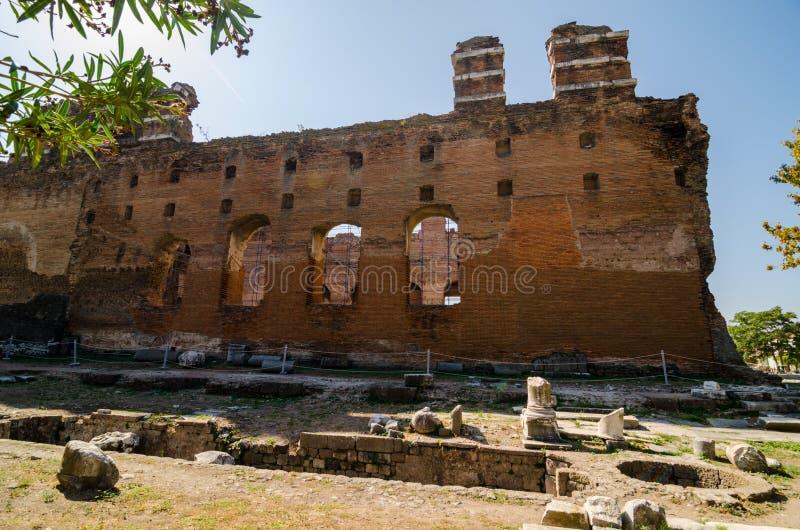 A basílica vermelha em Pergamon, Turquia fotografia de stock