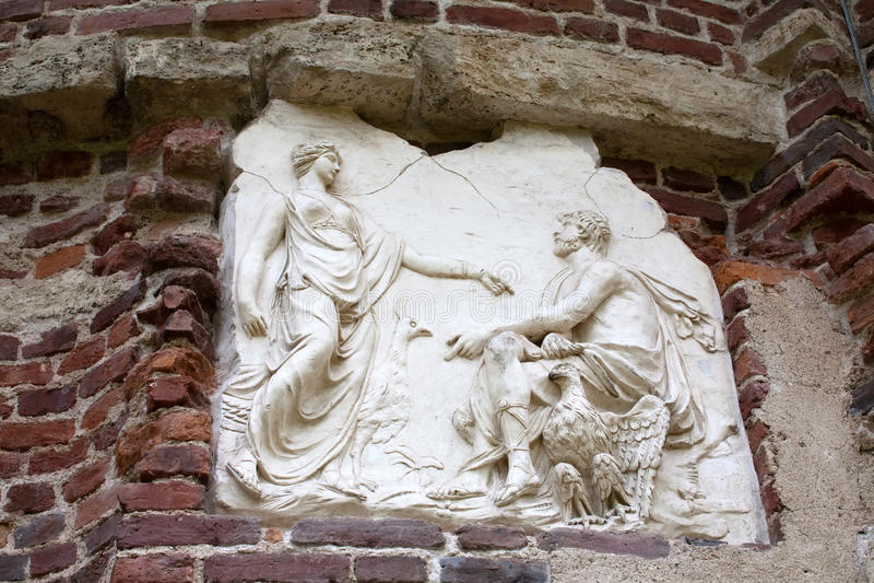 Bas-ανακούφιση αρχαίου Έλληνα στοκ εικόνα