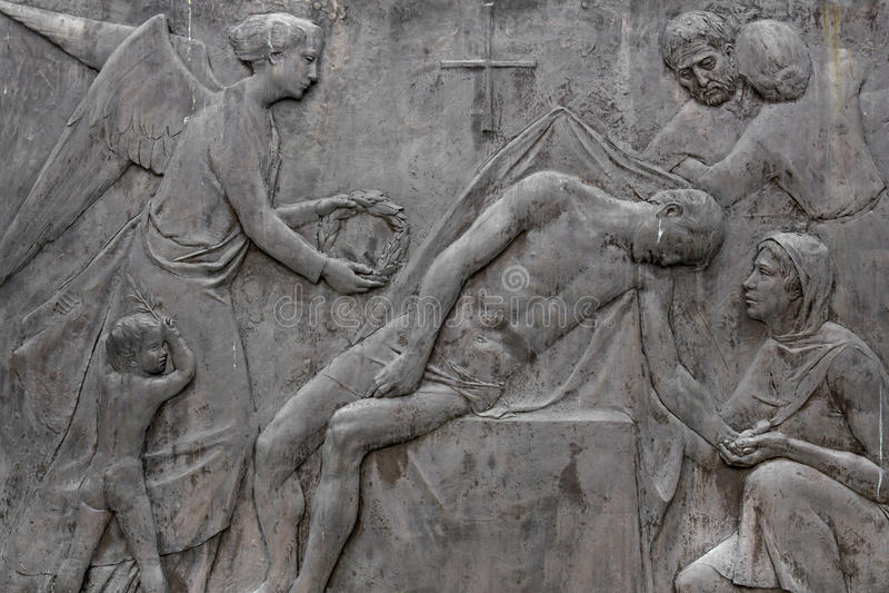 Bas-ανακούφιση που απεικονίζει το θάνατο στοκ εικόνες
