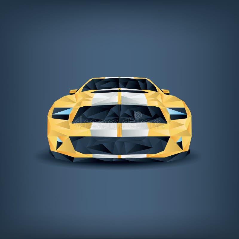 Bas concept réaliste polygonal de voiture de sport jaune illustration stock