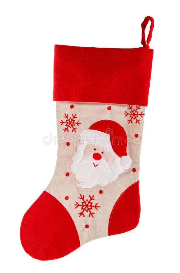Bas de l'Epifany chaussette rouge avec Santa Claus et des flocons de neige images libres de droits