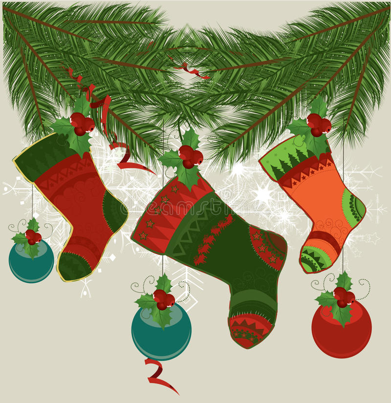 Bas de Noël sur des chaînes de caractères illustration libre de droits