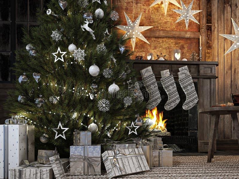Bas de Noël sur le fond de cheminée rendu 3d illustration stock