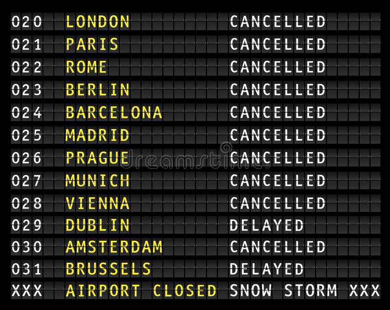 Bas fermant d'aéroport pendant une tempête de neige, affichage illustration libre de droits