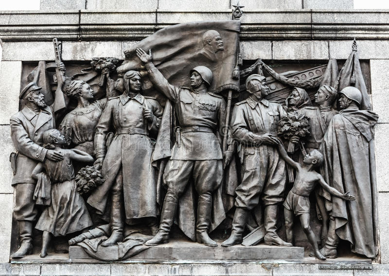 Bas-hulp Scènes op de Muur van Stele Gewijd aan het Memorandum royalty-vrije stock foto