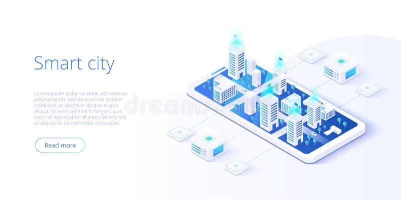 聪明的城市或聪明的修造的等量传染媒介概念 与计算机网络例证的修造的自动化 ?? 皇族释放例证