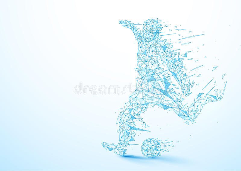 Bas joueur de football abstrait de polygone donnant un coup de pied le fond de boule illustration libre de droits