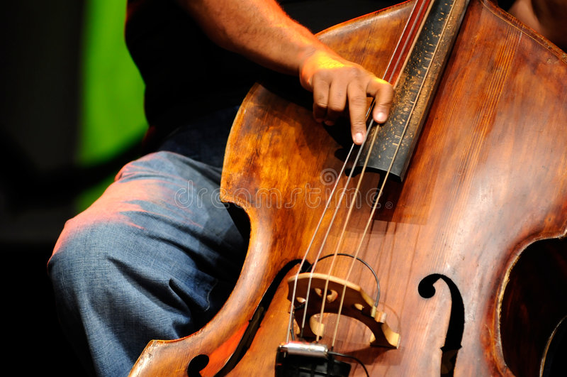 bas- klassisk dubbel jazzspelare royaltyfri foto