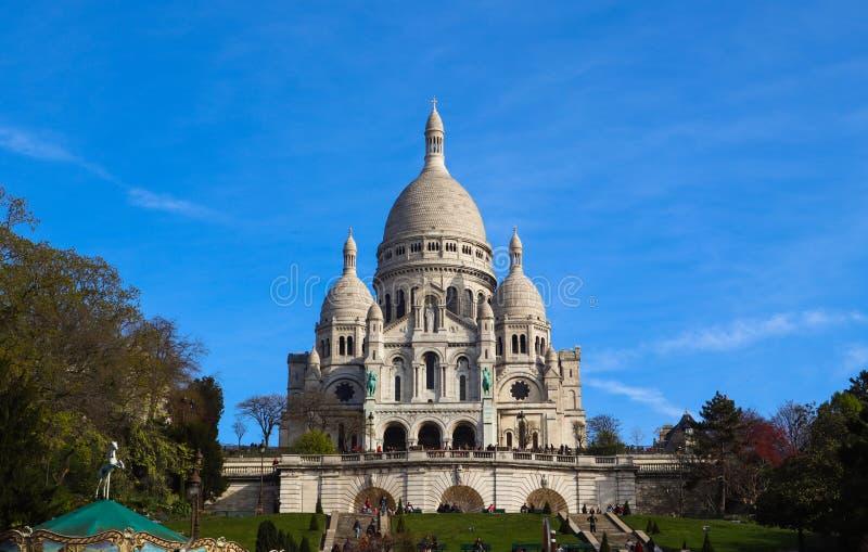 Bas?lica del coraz?n sagrado Sacre Coeur en Par?s Francia En abril de 2019 fotos de archivo libres de regalías