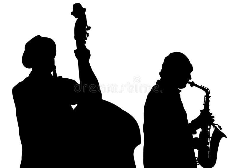 Bas och saxofon royaltyfri illustrationer