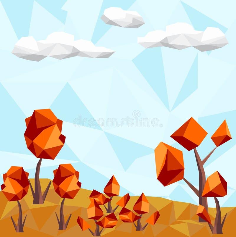 Bas poly arbres d'automne sur le paysage Illustration de dessin de vecteur illustration stock