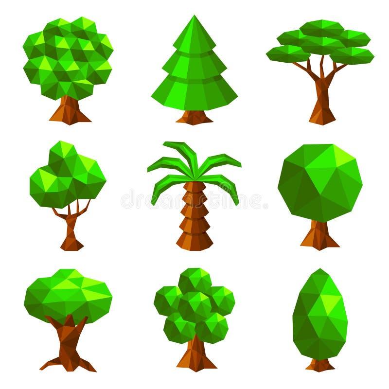 Bas poly arbres d'isolement sur le vecteur blanc illustration de vecteur