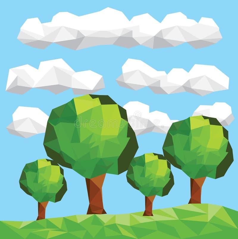 Bas poly arbres de vecteur sur le lendscape illustration libre de droits