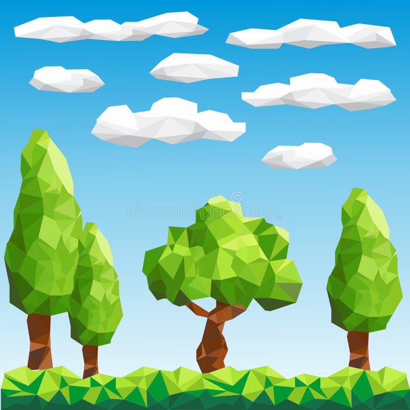 Bas poly arbres de vecteur sur le paysage illustration stock