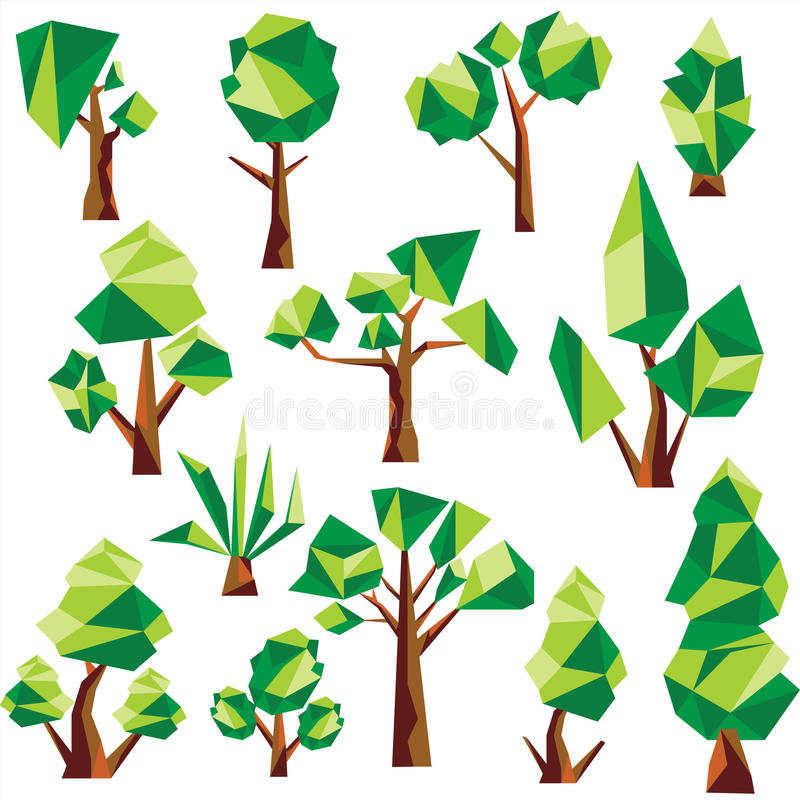 Bas poly arbres et cactus de vecteur illustration de vecteur