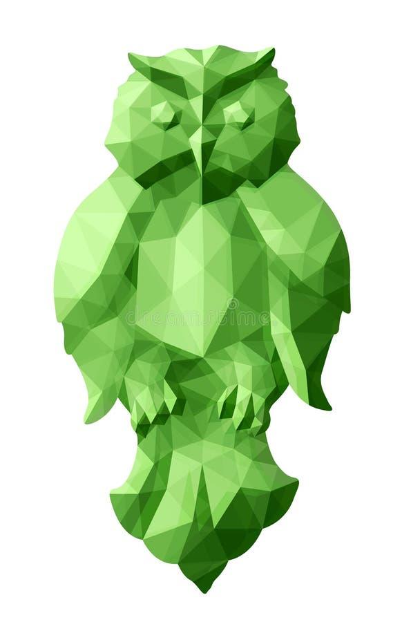 Bas poly art avec le hibou vert vert illustration stock