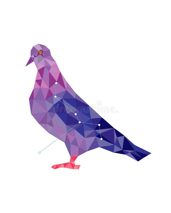 Bas-poly art coloré de figure de colombe pourpre dans le style géométrique illustration libre de droits