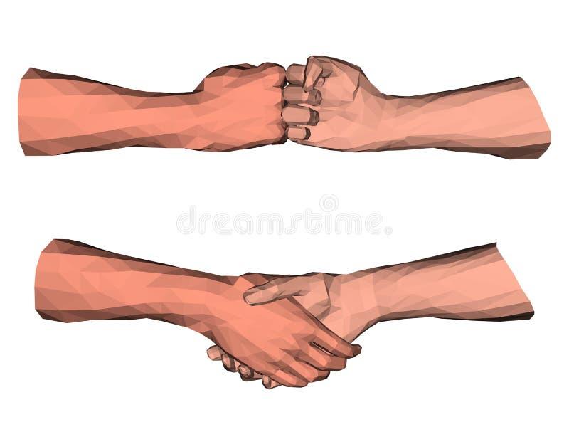 Bas poly art de poignée de main polygonale illustration libre de droits