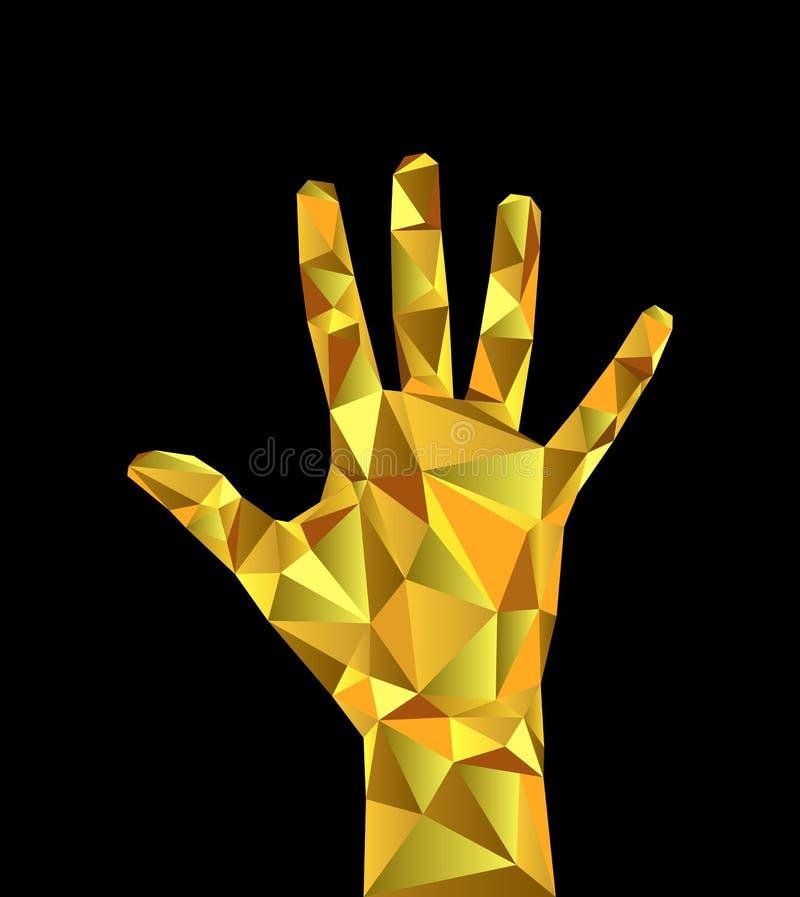 Bas poly bijoux polygonaux d'or de poignet de main de corps illustration stock