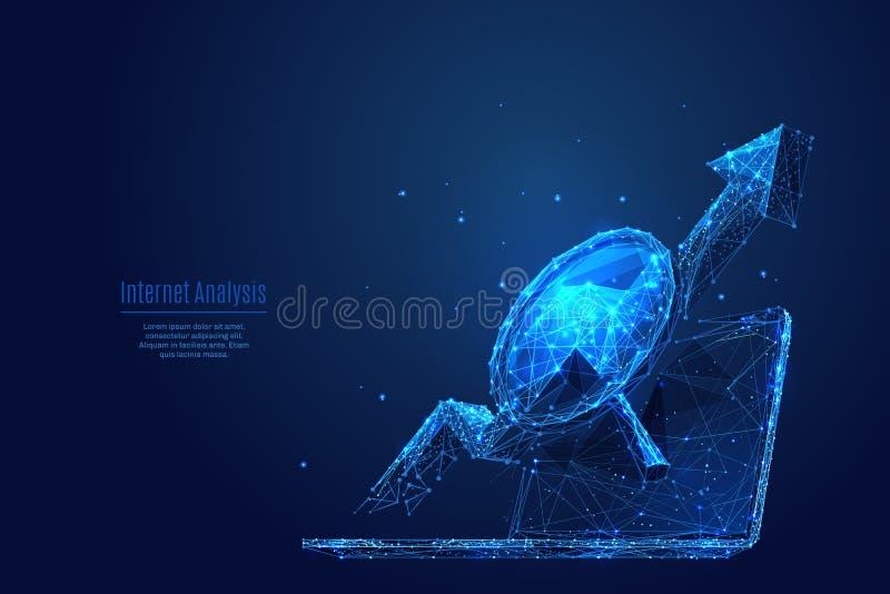 Bas poly bleu de wireframe de Service Internet illustration libre de droits