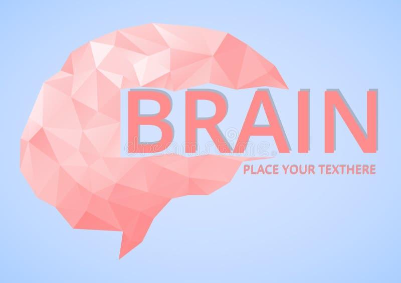 Bas poly Brain Logo géométrique illustration de vecteur
